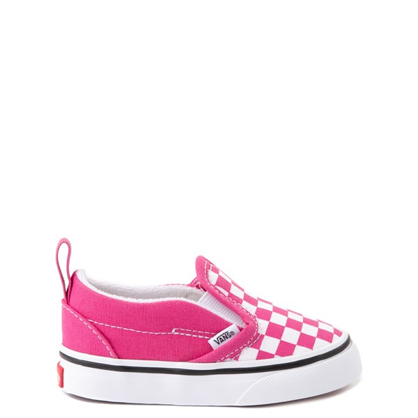 Vans Slip On V Checkerboard Skate Shoe - Baby / Toddler - Fuchsia