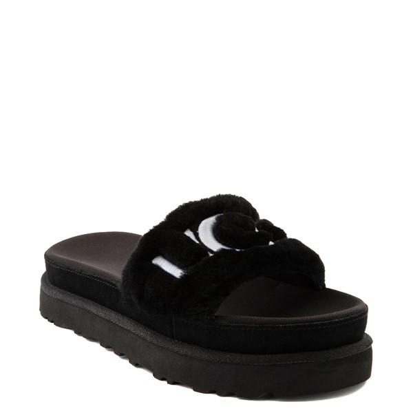 alternate view Womens UGG® Laton Fur Slide Sandal - BlackALT1B