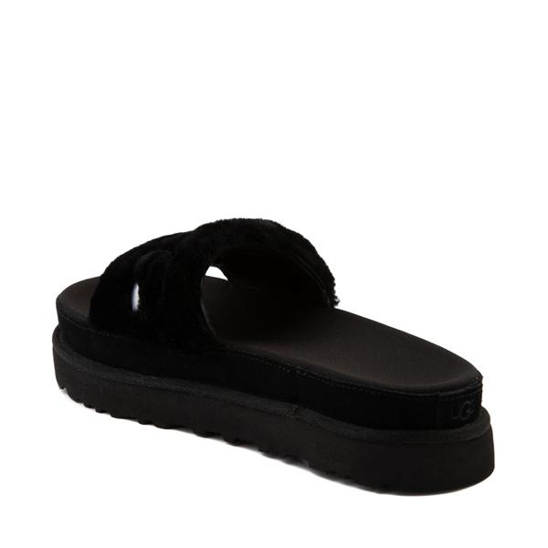 alternate view Womens UGG® Laton Fur Slide Sandal - BlackALT2