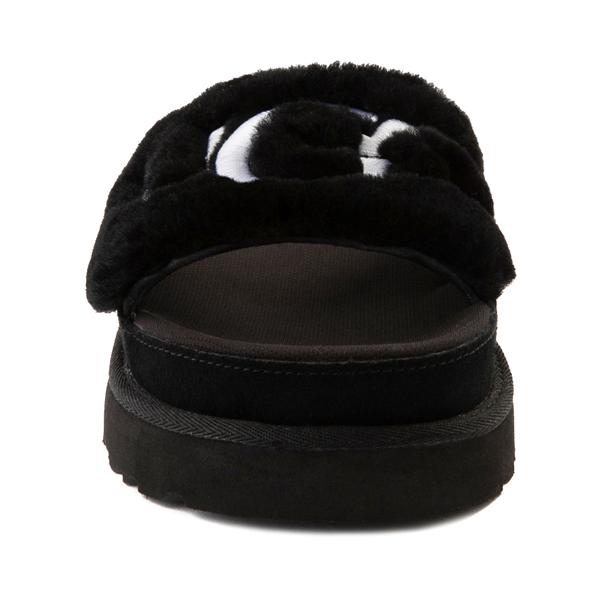 alternate view Womens UGG® Laton Fur Slide Sandal - BlackALT4