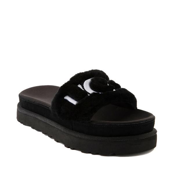 alternate view Womens UGG® Laton Fur Slide Sandal - BlackALT5