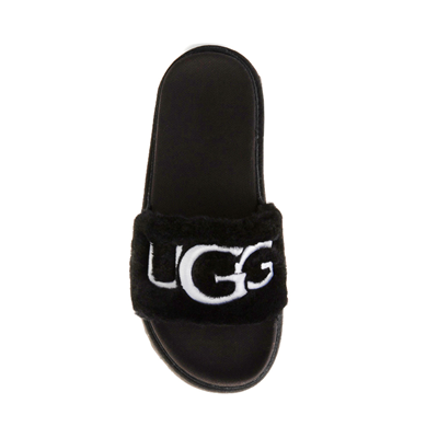 Alternate view of Womens UGG® Laton Fur Slide Sandal - Black