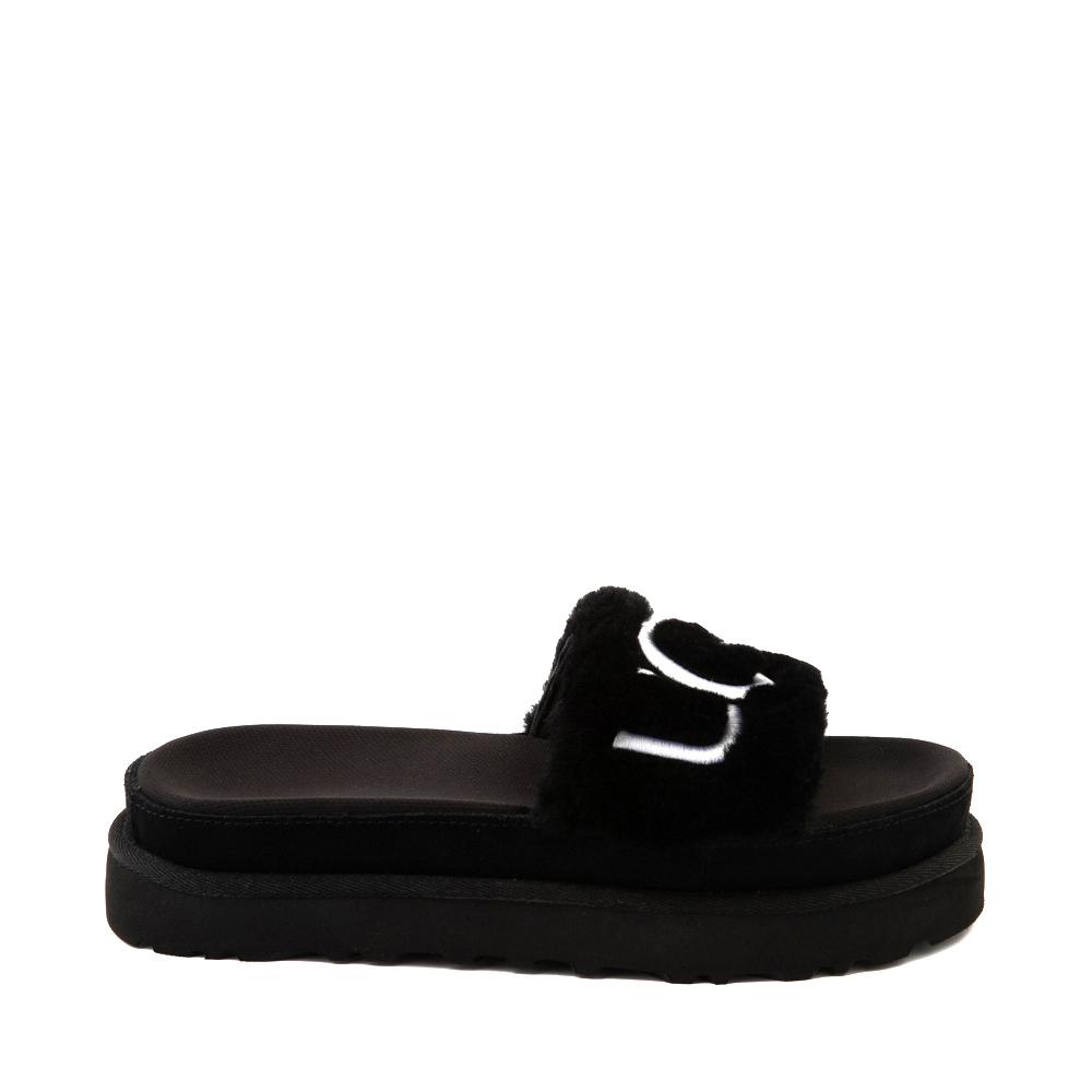 Womens UGG® Laton Fur Slide Sandal - Black