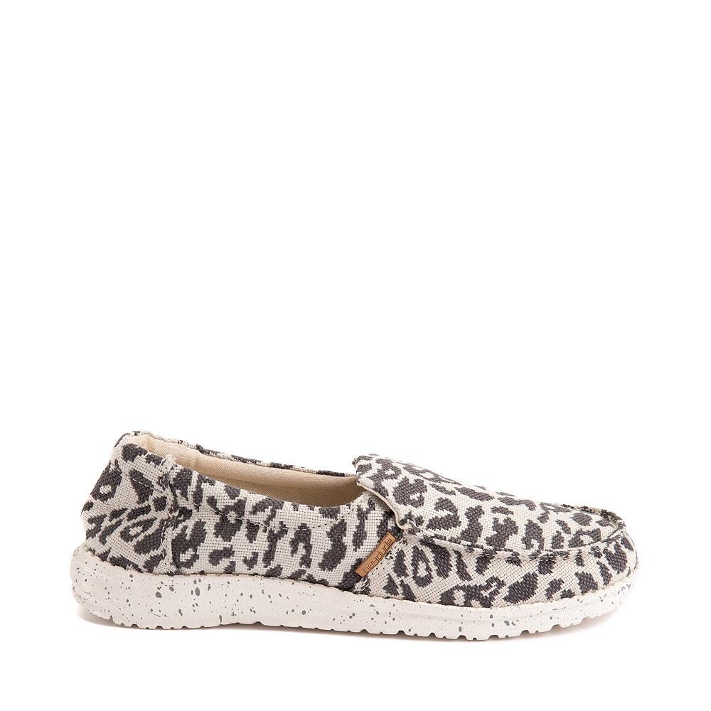 Womens Hey Dude Misty Slip On Casual Shoe - Gray Leopard