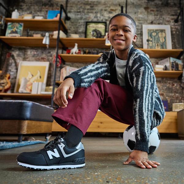 alternate view New Balance 574 Athletic Shoe - Little Kid - Black / SilverALT1B
