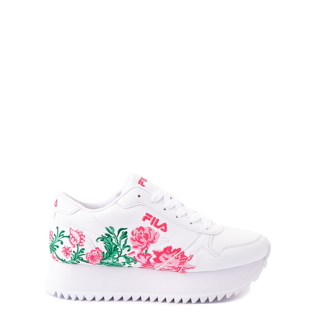 Fila Orbit Floral Athletic Shoe - Big Kid - White
