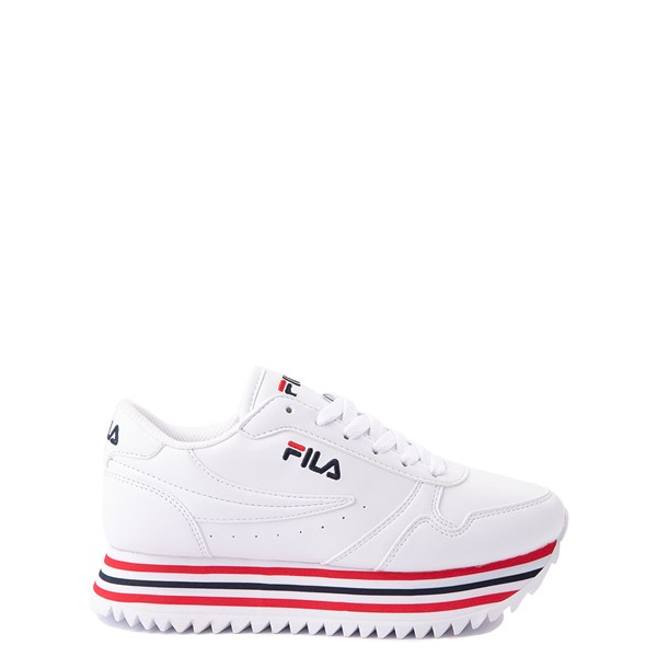 Main view of Fila Orbit Stripe Athletic Shoe - Big Kid - White / Navy / Red