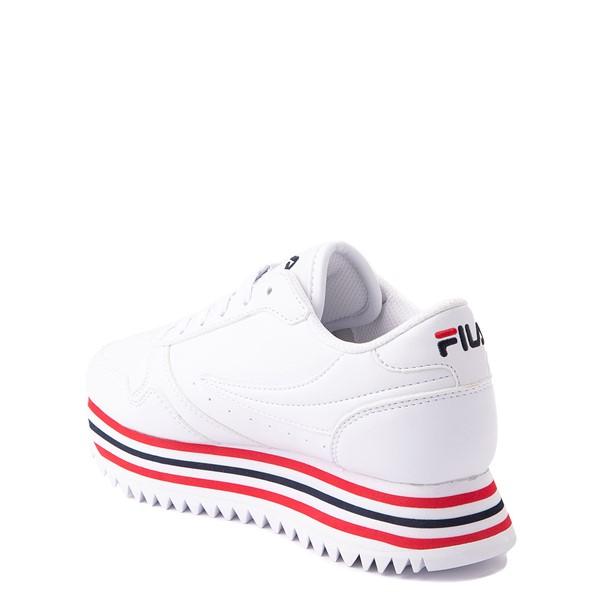 alternate view Fila Orbit Stripe Athletic Shoe - Big Kid - White / Navy / RedALT1
