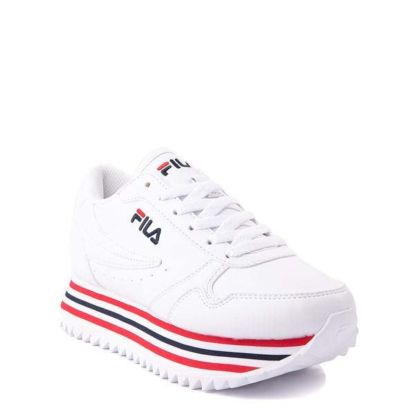 alternate view Fila Orbit Stripe Athletic Shoe - Big Kid - White / Navy / RedALT5