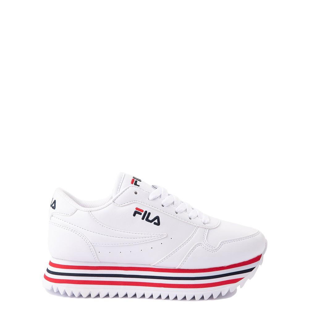 Fila Orbit Stripe Athletic Shoe - Big Kid - White / Navy / Red