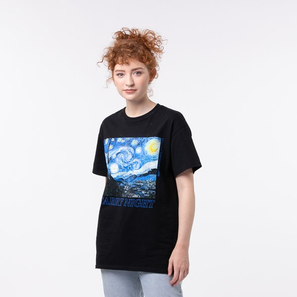 Womens Starry Night Boyfriend Tee - Black