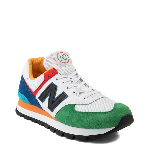 alternate view Mens New Balance 574 Athletic Shoe - Rugged White / Varsity GreenALT5