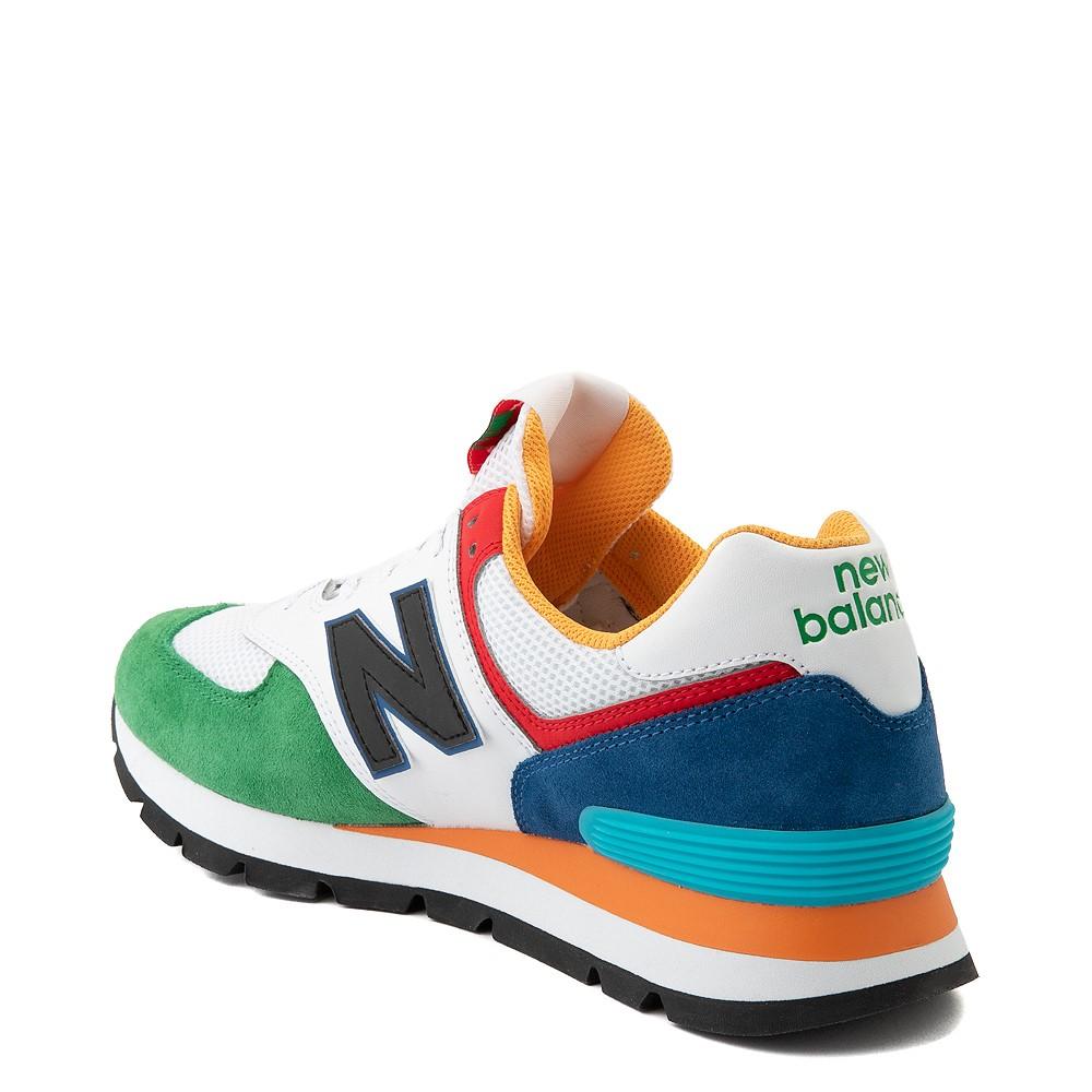 Mens New Balance 574 Athletic Shoe - Rugged White / Varsity Green ...