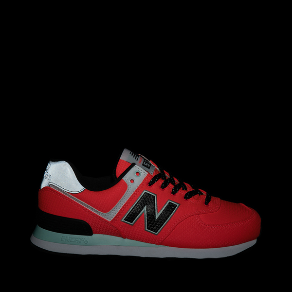 alternate view Womens New Balance 574 Athletic Shoe - Vivid Coral / BlackALT1