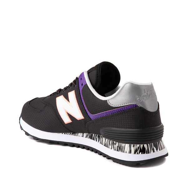 alternate view Womens New Balance 574 Athletic Shoe - Black / Green / PurpleALT1