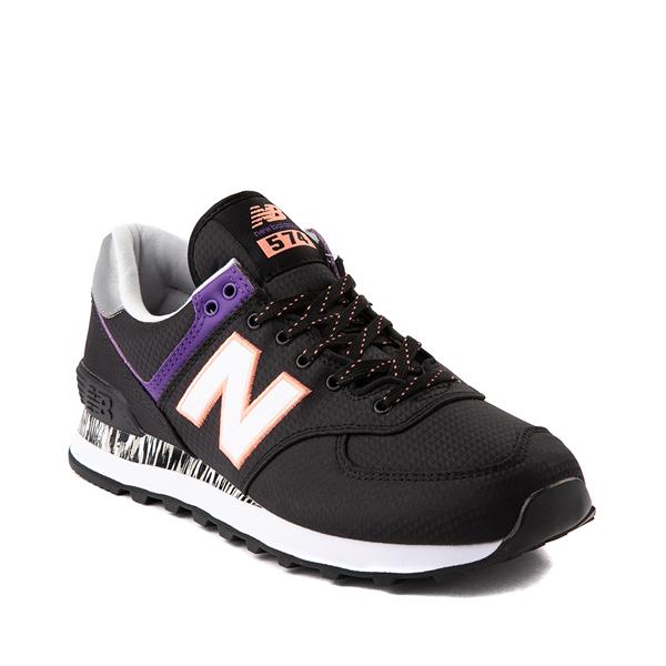 alternate view Womens New Balance 574 Athletic Shoe - Black / Green / PurpleALT5