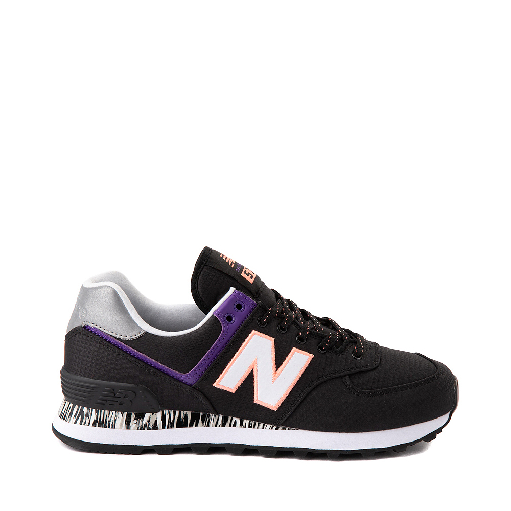 Womens New Balance 574 Athletic Shoe - Black / Green / Purple
