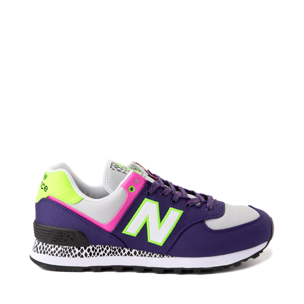 Womens New Balance 574 Athletic Shoe - Purple / Neon Multicolor
