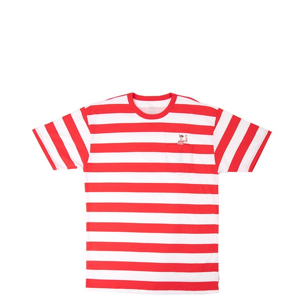 Mens Vans x Where's Waldo Stripe Tee - Racing Red