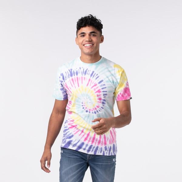 Mens Vans Drop V Spiral Tie Dye Tee - White / Rainbow