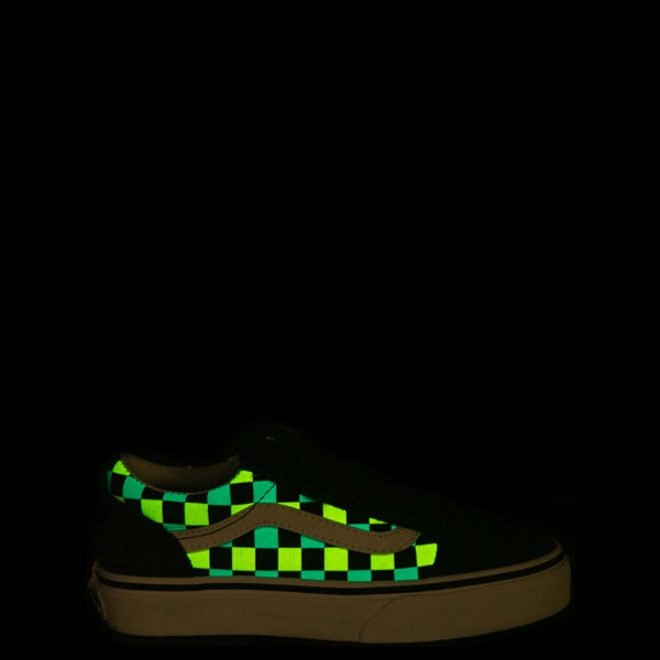 alternate view Vans Old Skool V Checkerboard Glow Skate Shoe - Little Kid - Black / Neon MulticolorALT1