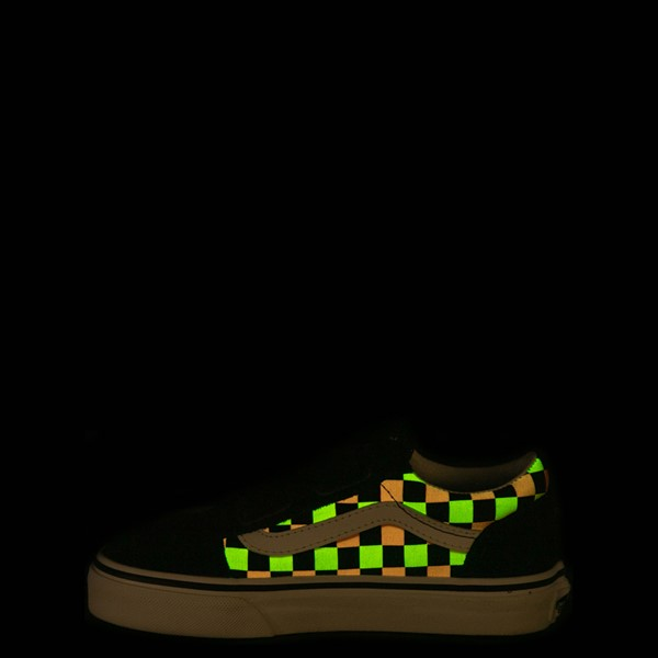 alternate view Vans Old Skool V Checkerboard Glow Skate Shoe - Little Kid - Black / Neon MulticolorALT1C