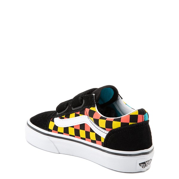 alternate view Vans Old Skool V Checkerboard Glow Skate Shoe - Little Kid - Black / Neon MulticolorALT1D