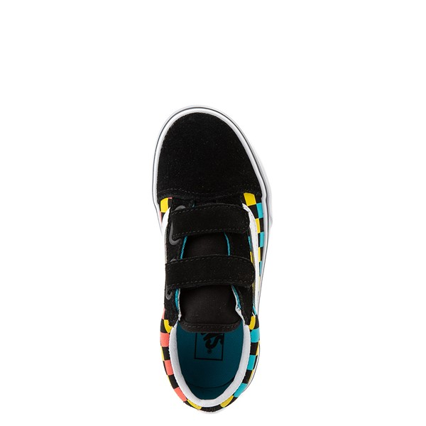 alternate view Vans Old Skool V Checkerboard Glow Skate Shoe - Little Kid - Black / Neon MulticolorALT2