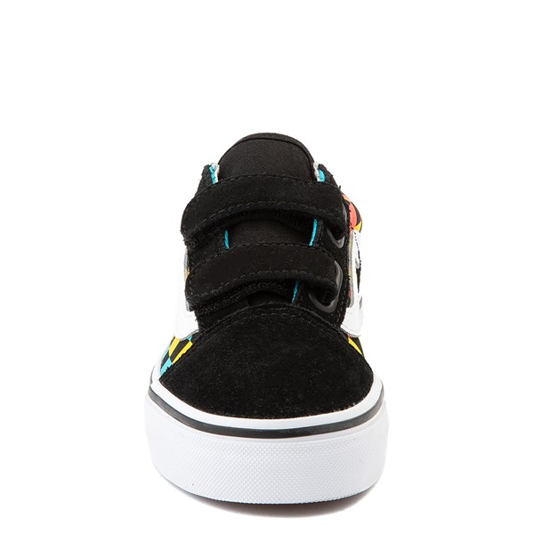 alternate view Vans Old Skool V Checkerboard Glow Skate Shoe - Little Kid - Black / Neon MulticolorALT4