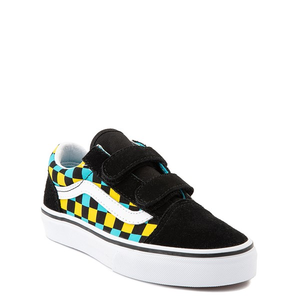 alternate view Vans Old Skool V Checkerboard Glow Skate Shoe - Little Kid - Black / Neon MulticolorALT5