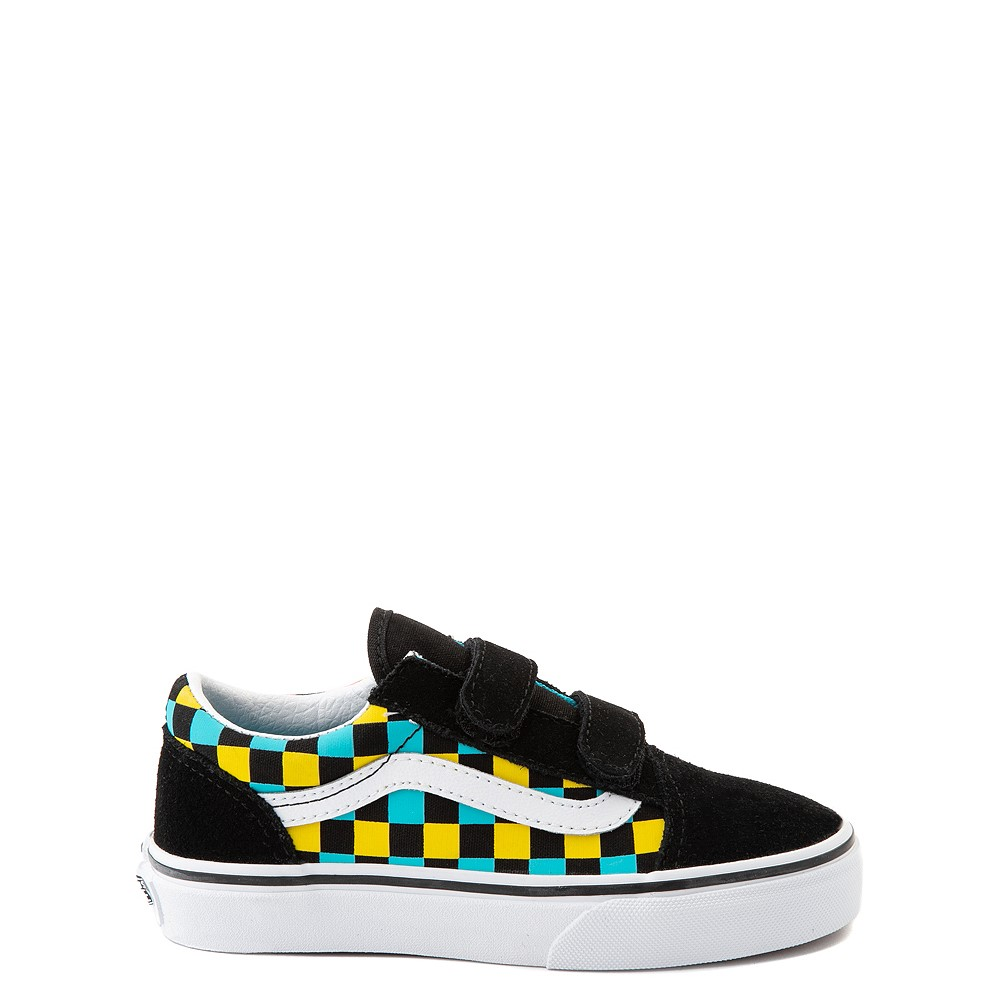 Vans Old Skool V Checkerboard Glow Skate Shoe - Little Kid - Black / Neon Multicolor