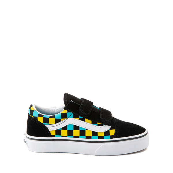 Vans Old Skool V Checkerboard Glow Skate Shoe - Big Kid - Black / Neon Checkerboard