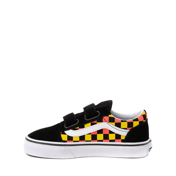 alternate view Vans Old Skool V Checkerboard Glow Skate Shoe - Big Kid - Black / Neon CheckerboardALT1B