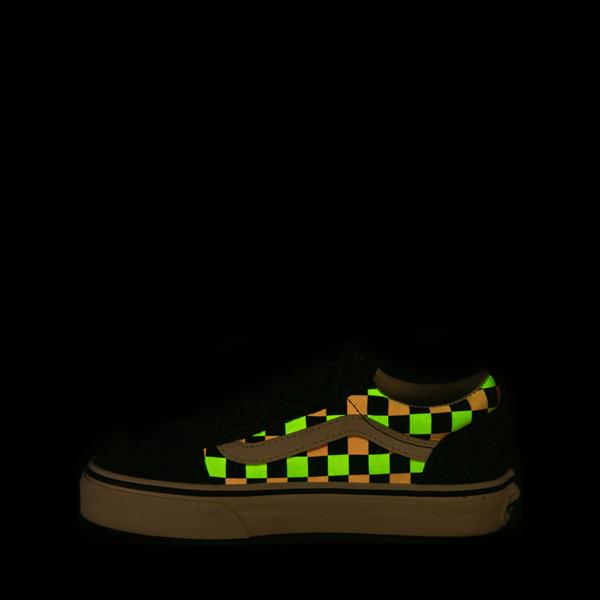 alternate view Vans Old Skool V Checkerboard Glow Skate Shoe - Big Kid - Black / Neon CheckerboardALT1C