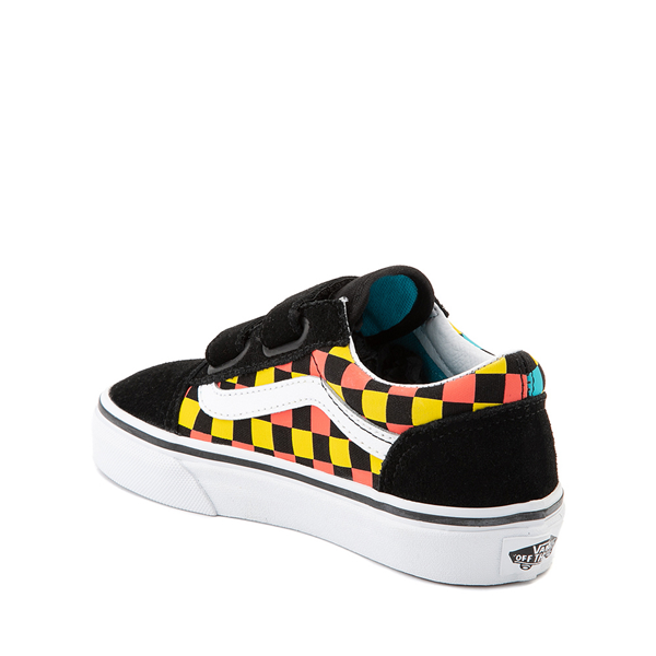 alternate view Vans Old Skool V Checkerboard Glow Skate Shoe - Big Kid - Black / Neon CheckerboardALT1D