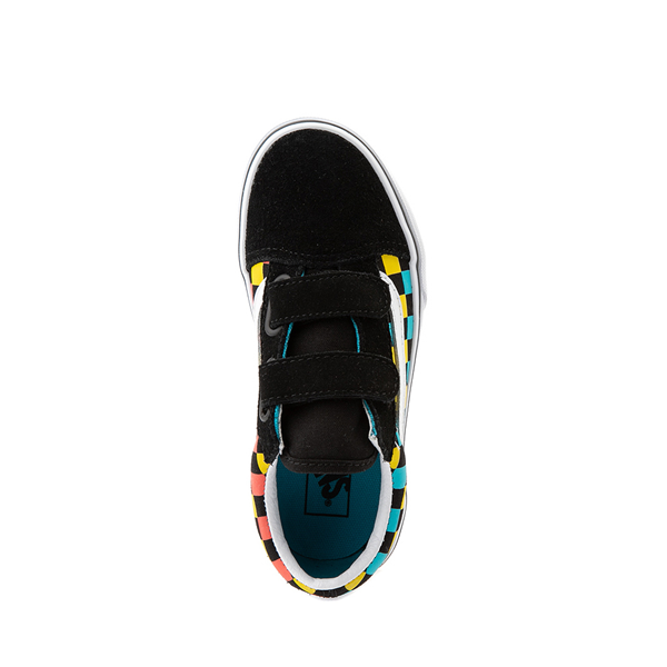 alternate view Vans Old Skool V Checkerboard Glow Skate Shoe - Big Kid - Black / Neon CheckerboardALT2