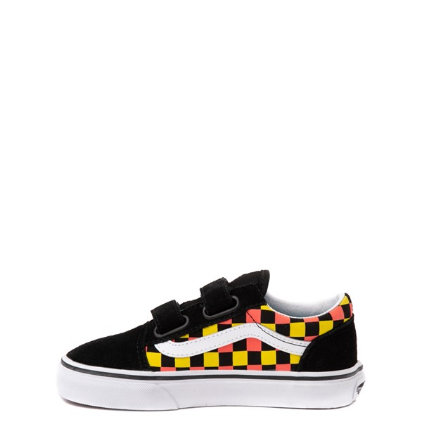 alternate view Vans Old Skool V Checkerboard Glow Skate Shoe - Big Kid - Black / Neon CheckerboardALT2B