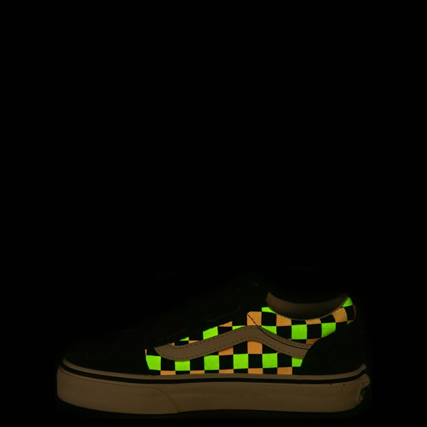 alternate view Vans Old Skool V Checkerboard Glow Skate Shoe - Big Kid - Black / Neon CheckerboardALT2C