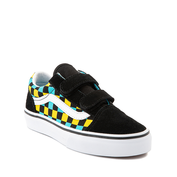 alternate view Vans Old Skool V Checkerboard Glow Skate Shoe - Big Kid - Black / Neon CheckerboardALT5
