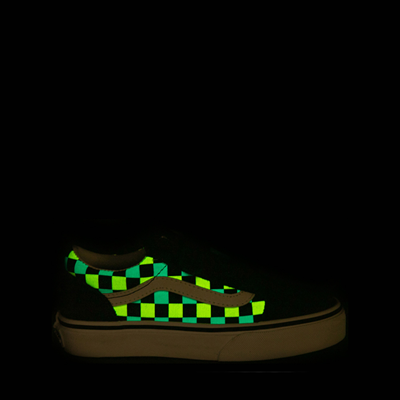 Alternate view of Vans Old Skool V Checkerboard Glow Skate Shoe - Big Kid - Black / Neon Checkerboard