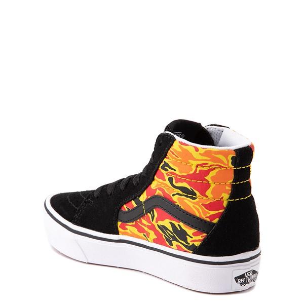 alternate view Vans Sk8 Hi ComfyCush® Skate Shoe - Little Kid - Black / Flame CamoALT1
