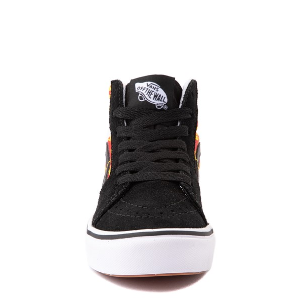 alternate view Vans Sk8 Hi ComfyCush® Skate Shoe - Big Kid - Black / Flame CamoALT4