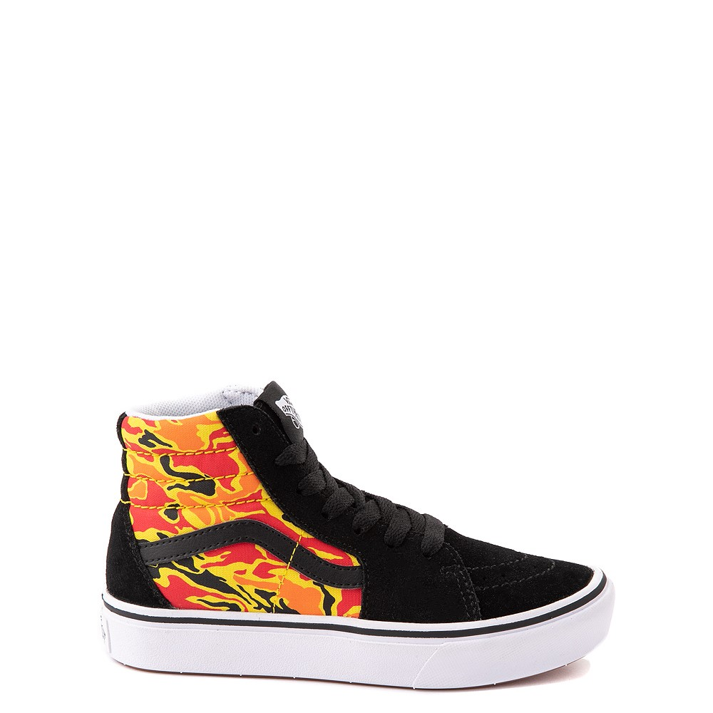 Vans Sk8 Hi ComfyCush® Skate Shoe - Big Kid - Black / Flame Camo
