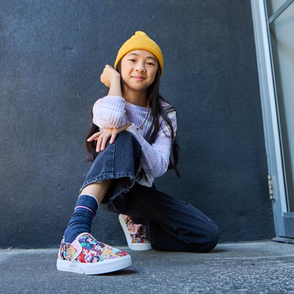 alternate view Ground Up Disney Princesses Slip On Sneaker - Little Kid / Big Kid - MulticolorALT1B