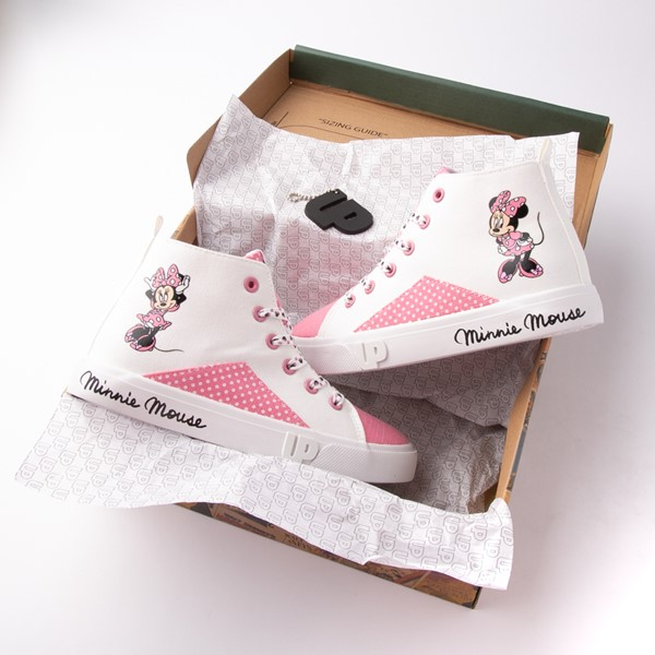 alternate view Ground Up Disney Minnie Mouse Hi Sneaker - Little Kid / Big Kid - White / PinkALT1B