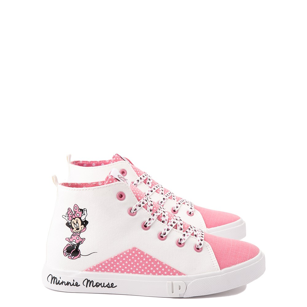 Ground Up Disney Minnie Mouse Hi Sneaker - Little Kid / Big Kid - White / Pink