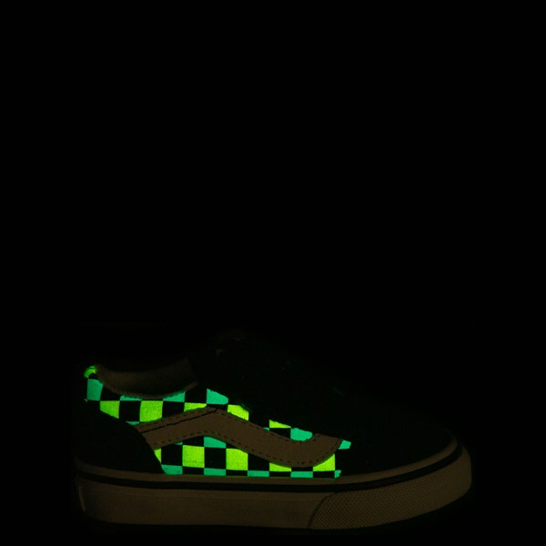 alternate view Vans Old Skool V Checkerboard Glow Skate Shoe - Baby / Toddler - Black / Neon MulticolorALT1