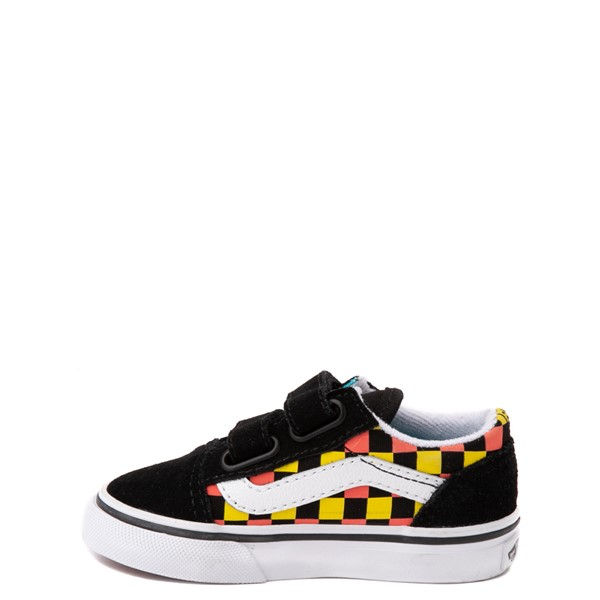 alternate view Vans Old Skool V Checkerboard Glow Skate Shoe - Baby / Toddler - Black / Neon MulticolorALT1B