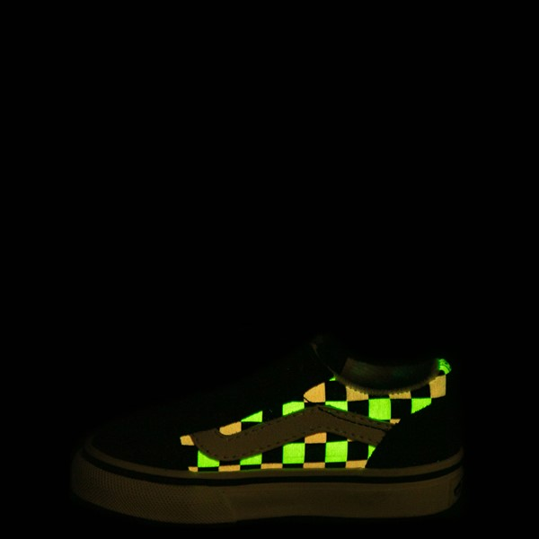 alternate view Vans Old Skool V Checkerboard Glow Skate Shoe - Baby / Toddler - Black / Neon MulticolorALT1C
