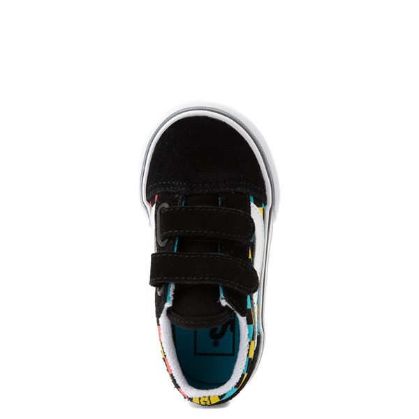 alternate view Vans Old Skool V Checkerboard Glow Skate Shoe - Baby / Toddler - Black / Neon MulticolorALT2